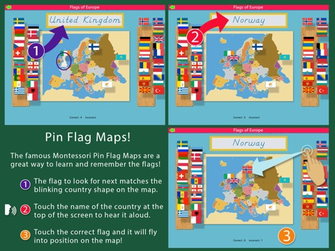 Flags of Europe - Montessori Approach to Geography screenshot 2