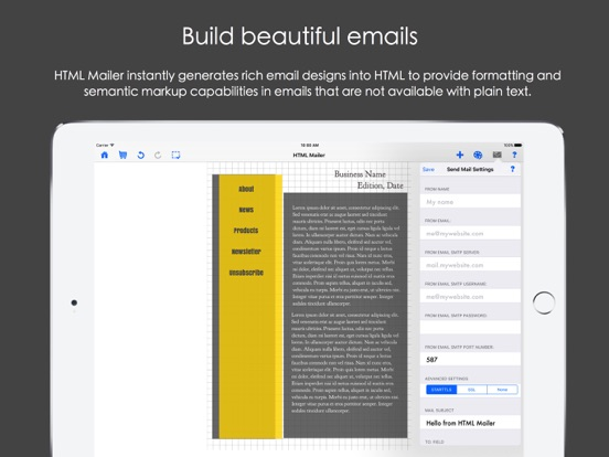 HTML Mailer Screenshots