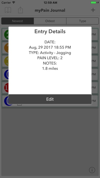 myPain Journal Screenshots