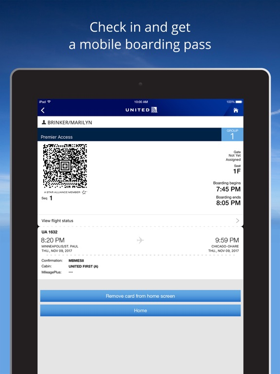 United Airlines iPad