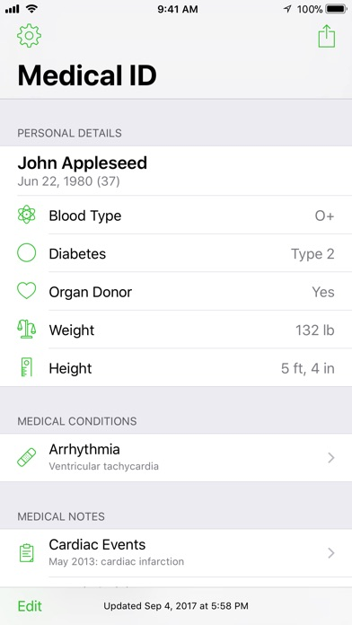 Medical ID Record Screenshot