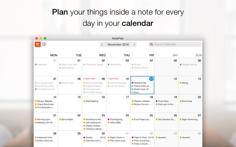 NotePlan - Markdown Calendar Screenshots