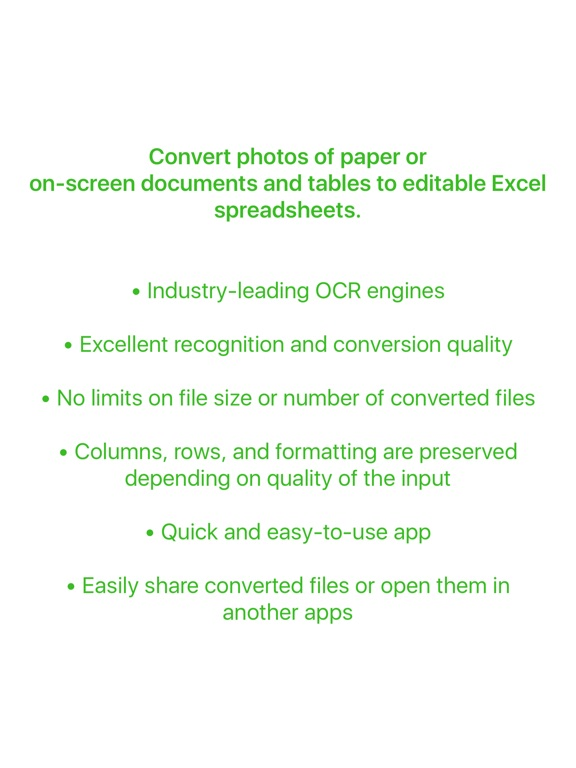 Image to Excel Converter - OCR - Convert photos of tables and spreadsheets to Excel documents - Excel Scanner Screenshot