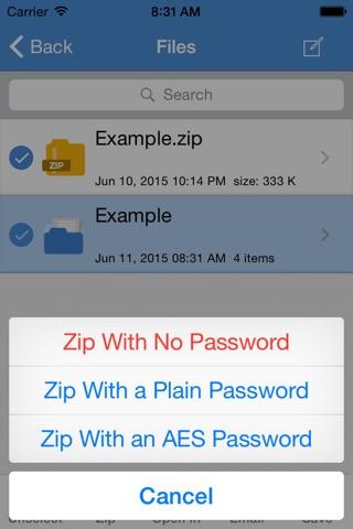 iZip Pro for iPhone screenshot 3