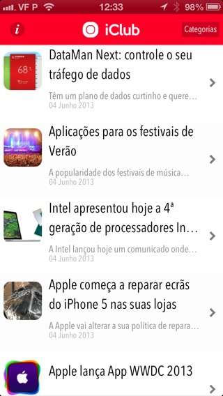 Captura de ecrã do iPhone 2