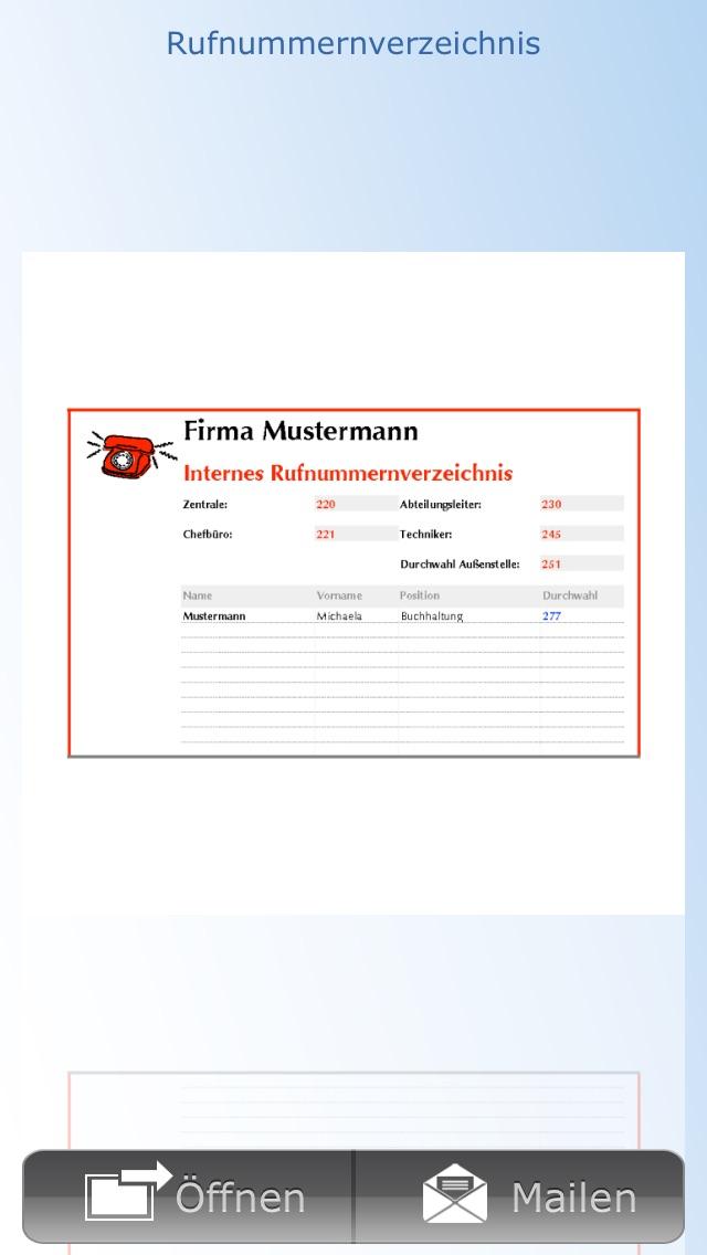 Screenshot von Vorlagen für Numbers5