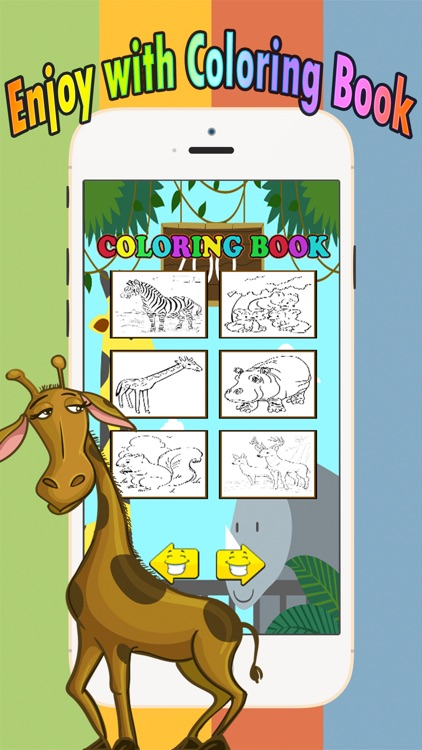 Zoo animals Coloring Book Move finger to draw these coloring