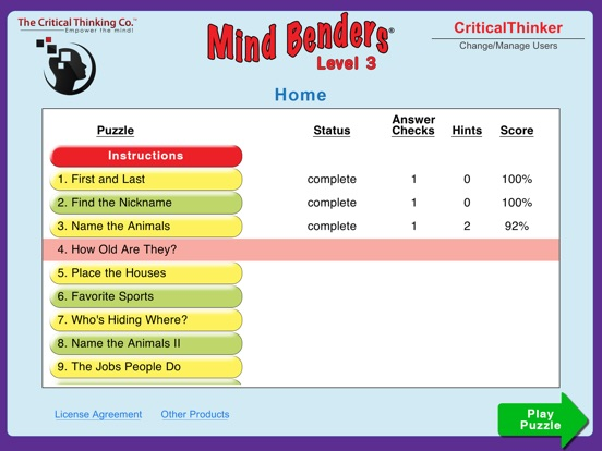 critical thinking company mind benders Among the excellent resources from the critical thinking company is the mind  benders series of workbooks each 32 to 48 page workbook is.