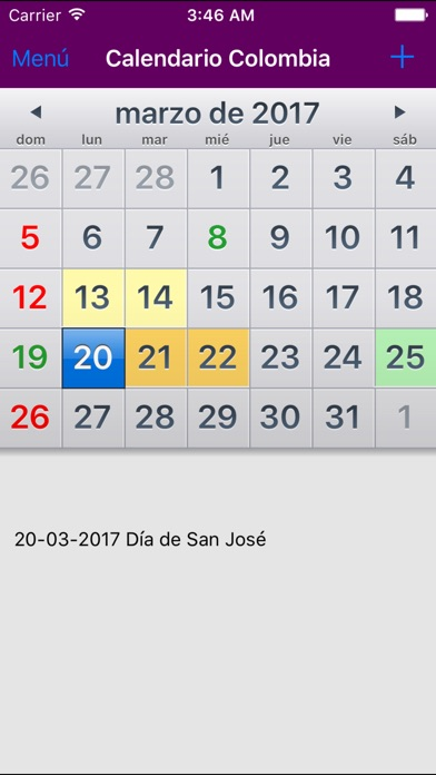 Calendario 2017 Colombia.Calendario 2017 Colombia Sin Ads Im App Store