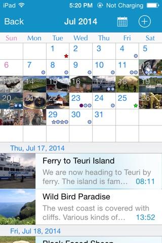 RainbowNote: notebook/diary with photo calendar screenshot 2