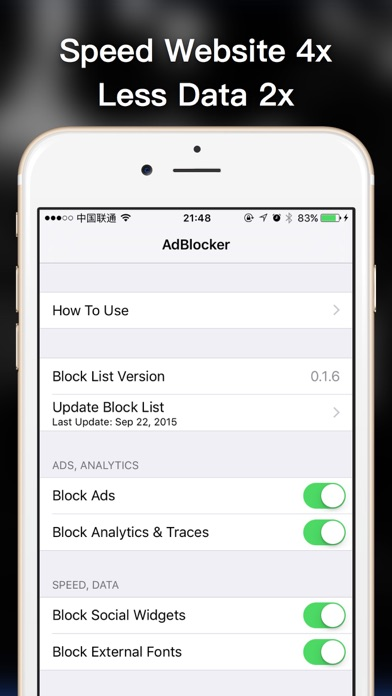 AdBlocker (Pro) - block various ads, protect your privary, speed the websites with less data cost, improve internet-browsing experience Screenshot