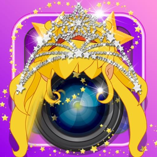 Anime & Manga Pocket Princess Frozen Crown Dress Sticker Camera Style iOS App