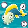 活動! 計數遊戲有關捕撈和淡水魚兒童學習計數