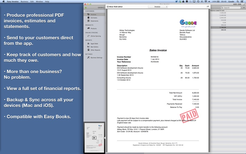 Invoice Gst Excel Easy Invoice Pdf Generator On The Mac App Store Invoice Website Word with Bmw X3 Invoice Price Screenshot  Commercial Invoice Doc Pdf