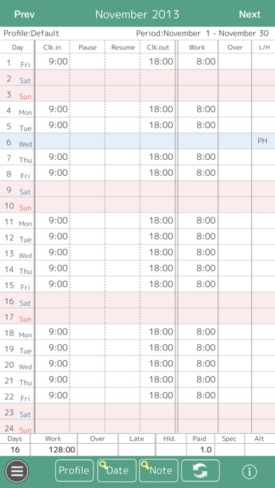 Work Log -Time sheet - on the App Store