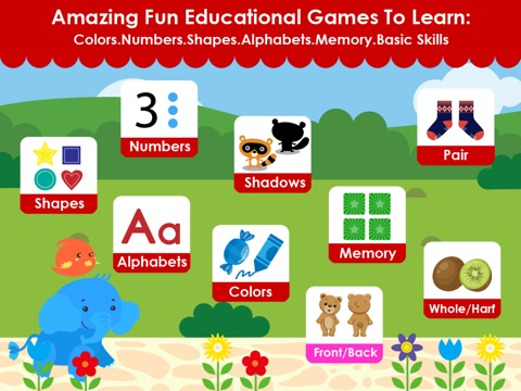 Matching Elephant - Early Learning Games For Toddler and Preschooler To Learn Numbers,Alphabet,Colors,Shapes,Basic Skills screenshot 1