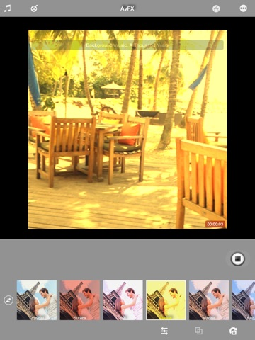 Screenshots of AvFX - awesome video effect, editor & background music edit for Instagram, Facebook, Youtube, Vine for iPad