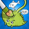 Ativos! Livro Para Colorir de Peixes Para As Crianças a Aprender a Pintar