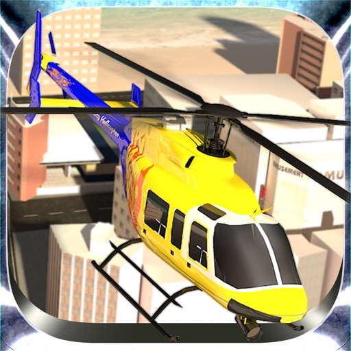 市ヘリコプターフライングシミュレーター - アーバンランド上空を飛ぶ航空ヘリコプター