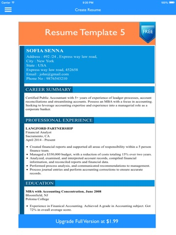 An Example Of A Resume Pdf Free Resume Builder App  Professional Cv Maker And Resumes  My Professional Resume Word with Free Resume Bulider Word Ipad Screenshot  Retail Resume Example Word