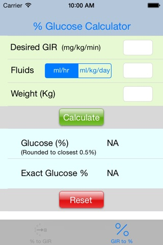 Multidrip Glucose Infusion Rate Calculator screenshot 2