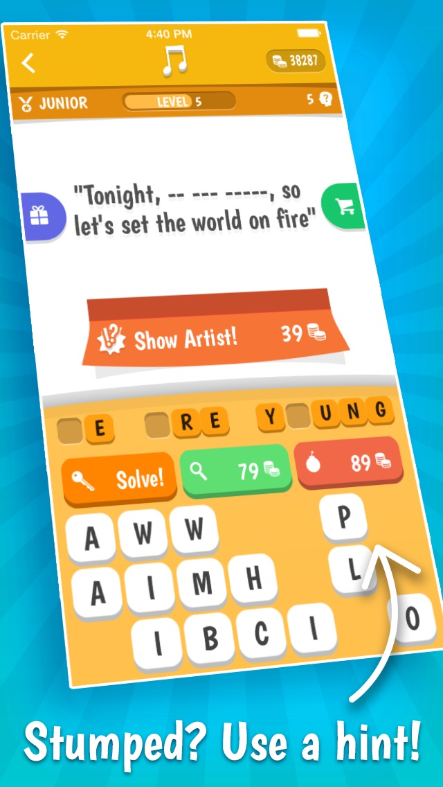 Screenshots of Song Quiz – The Free Lyric Guessing Game for iPhone