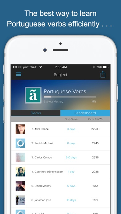 Learn Portuguese Verbs Screenshots