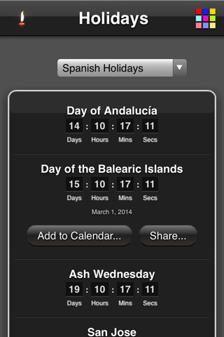 Holidays Countdown screenshot 2