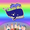 Coloring Book para los niños o los niños - Pintar con los dedos - Doodle dibujar animales de mar