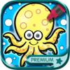 Colorir animais aquáticos (livro de pintar animais do mar para crianças) - Premium