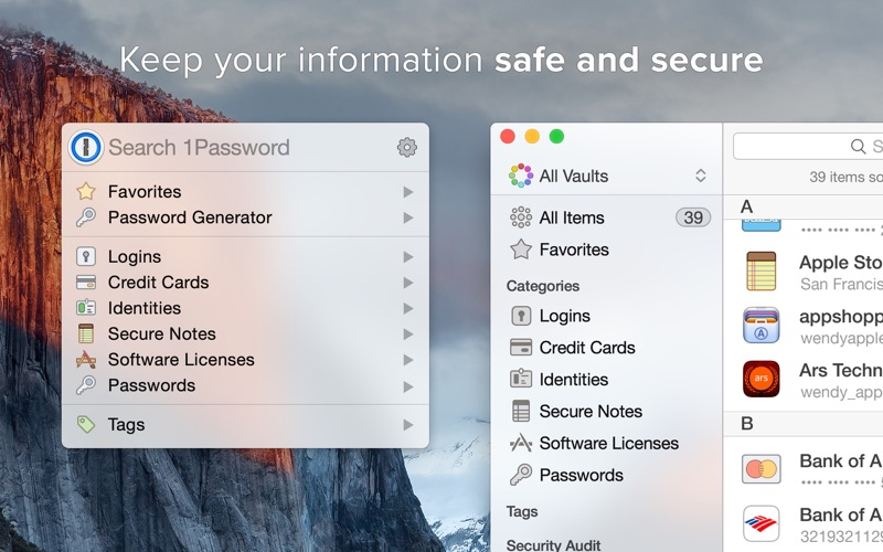 1Password Screenshots