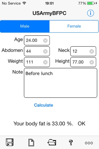 Army Body Fat Percentage Calculator for iPhone screenshot 1