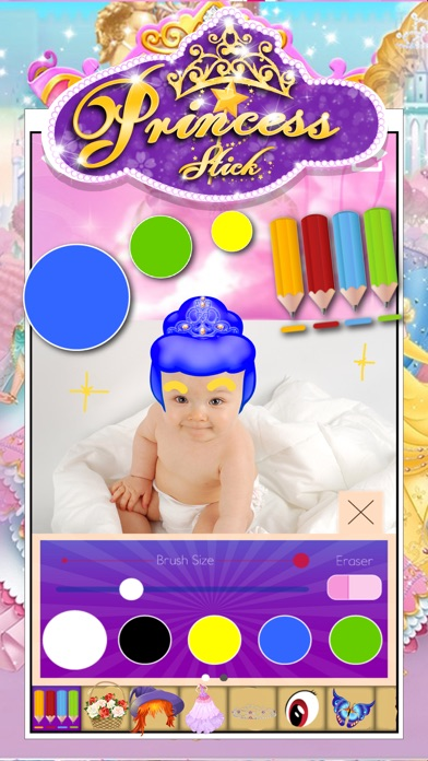 Anime & Manga Pocket Princess Frozen Crown Dress Sticker Camera Style Screenshot on iOS