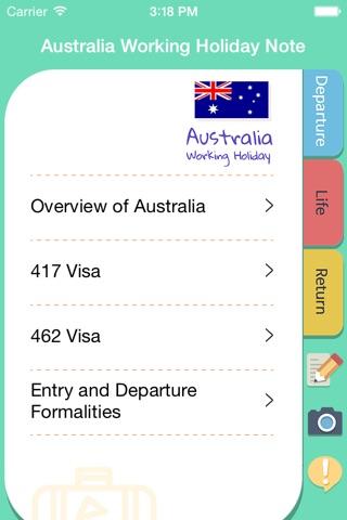 Australia Working Holiday Note screenshot 1