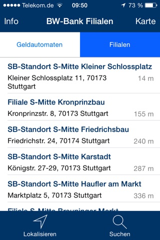 BW-Bank Filialfinder screenshot 2