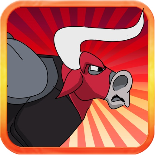 Red Angry Bull Jump Icon
