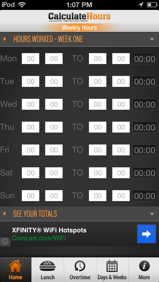 time card calculator timeclock screenshot on ios