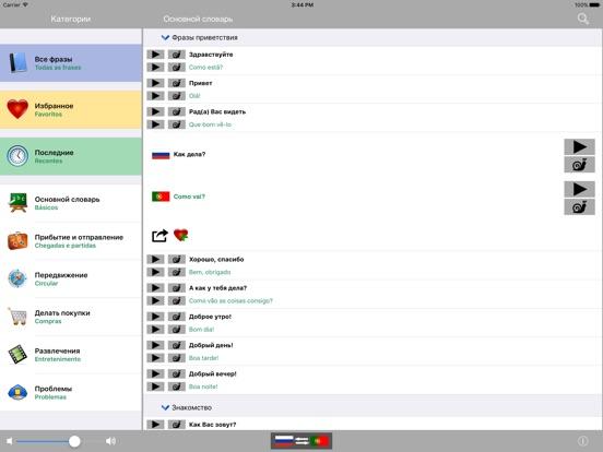 Русско / Португальский говорящий разговорник словарь - Multiphrasebook Скриншоты7