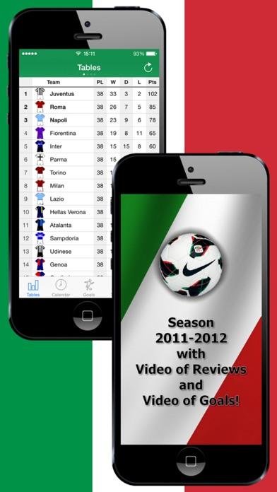 Screenshot of Calcio italiano 2011-2012 piedi Video di obiettivi Formazioni capocannonieri Squadre informazioni1