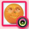 La comida divertida de la cara del cambiador - de frutas y verduras se enfrenta a la cámara de intercambio y la cara stand morfo