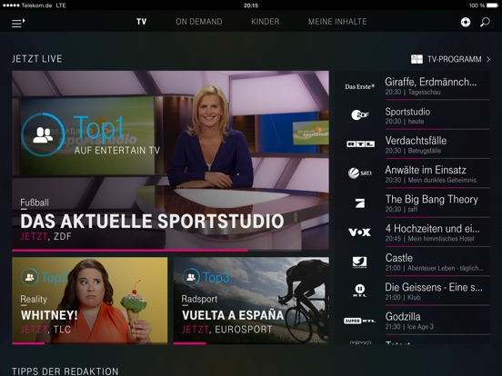 EntertainTV mobil iPad edition Screenshot