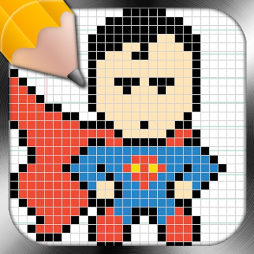 Drawing Lessons Super Heroes PixelArt iOS App