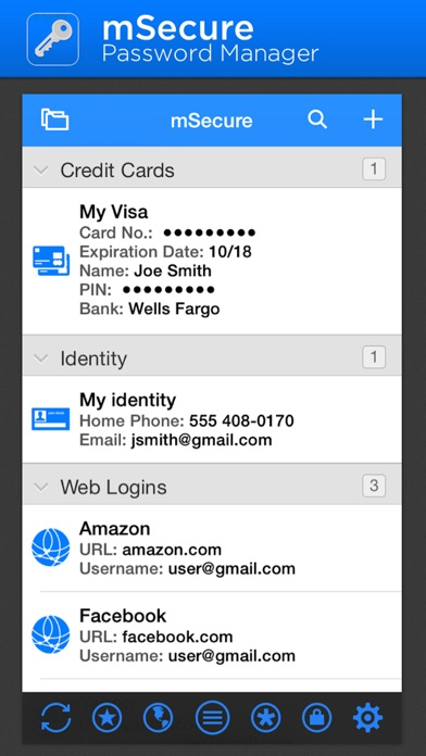 mSecure - Password Manager and Secure Digital Wallet Screenshot 1