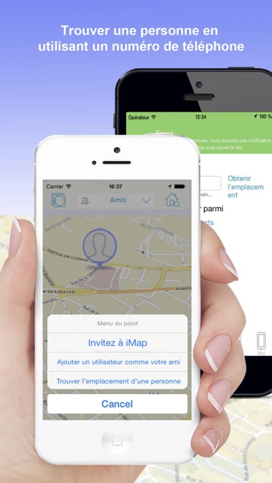 iMap localiser mes amis iPhoneCapture d'écran de 2