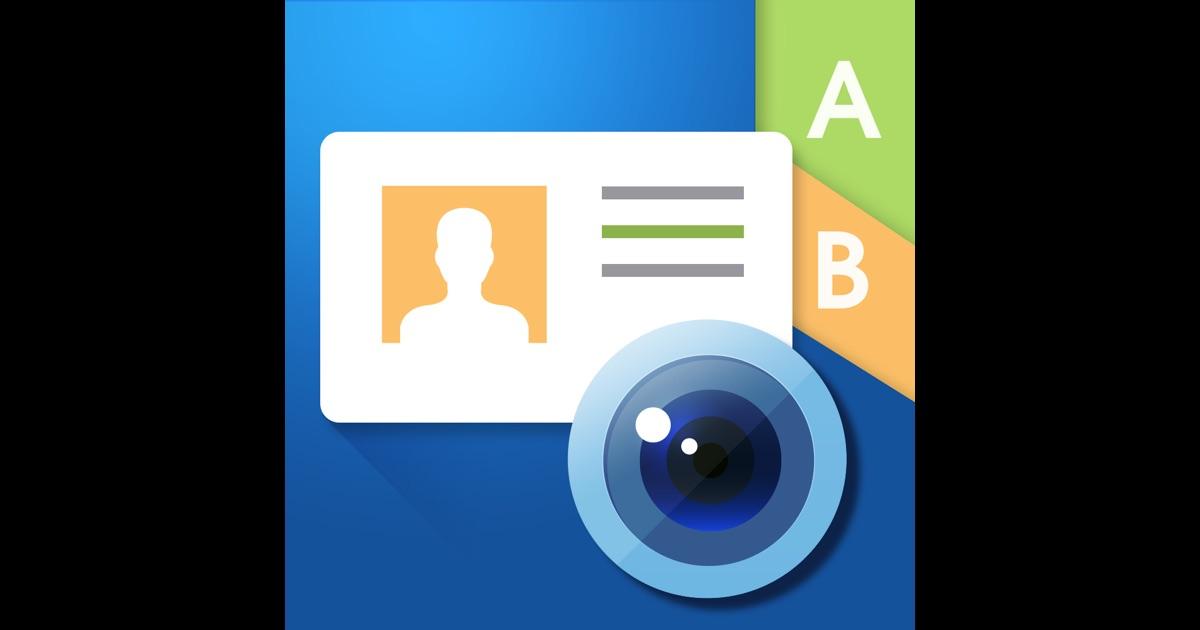 WorldCard Mobile business card reader & business card