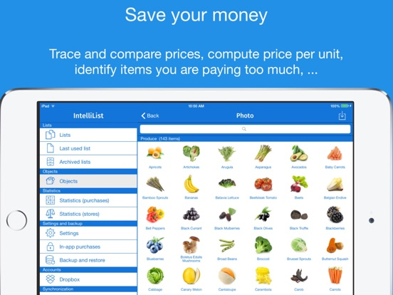 grocery list with prices