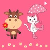 Moody Cows and Pinkish Cat