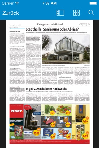Nürtinger Zeitung digital screenshot 3
