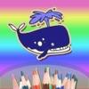 Coloring Book per i bambini o Kids - Pittura con le dita - Doodle disegnare animali di mare