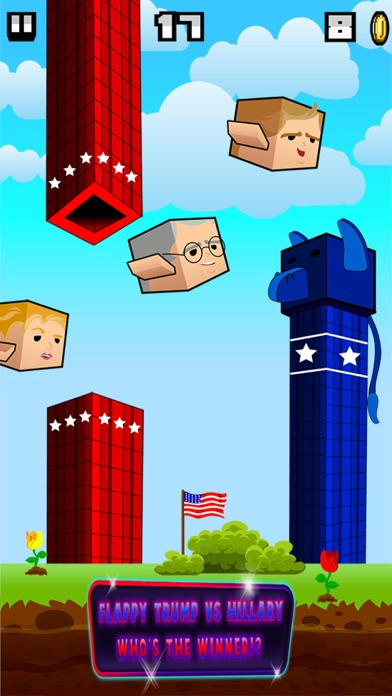 Screenshot of Flappy Donald Trump vs. Hillary Election Run – Face Off Flyer President2